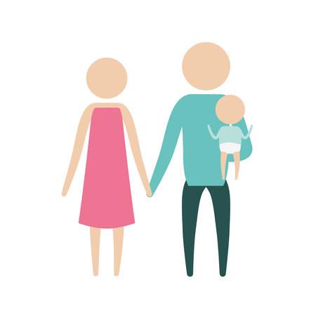 kleur silhouet pictogram ouders met een kleine jongen die in kleding vectorillustratie