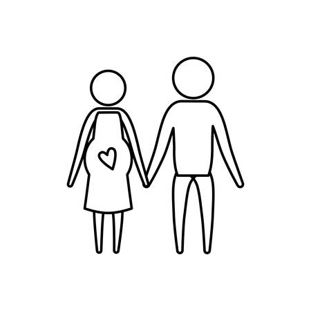 affections: Sketch silhouette of pictogram woman pregnancy and man holding hands in clothes vector illustration