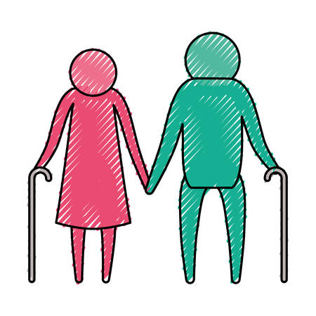 color crayon silhouette pictogram elderly couple with walking sticks vector illustration