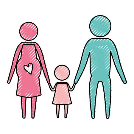 color crayon silhouette pictogram couple parents with mother pregnancy and little girl holding hands vector illustration Illustration
