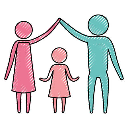 mid adult men: color crayon silhouette pictogram couple parents holding hands up an girl in the middle of them vector illustration