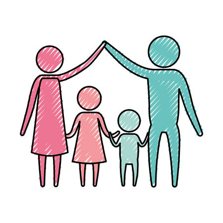 affection: color crayon silhouette pictogram couple parents holding hands up and children in the middle of them vector illustration