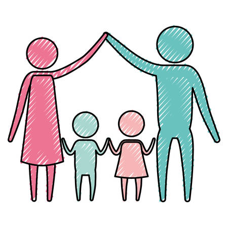 color crayon silhouette pictogram couple parents holding hands up and pair children in the middle of them vector illustration Ilustracja
