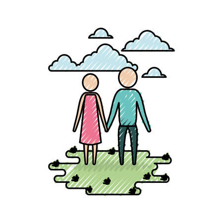 color crayon silhouette sky landscape and grass with pictogram couple holding hands vector illustration Illustration