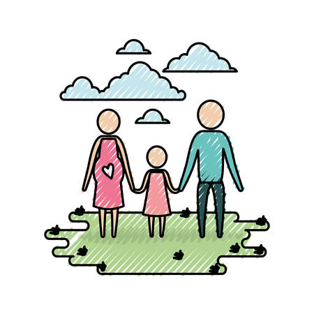 color crayon silhouette sky landscape and grass with pictogram woman pregnancy and man holding hands of girl vector illustration