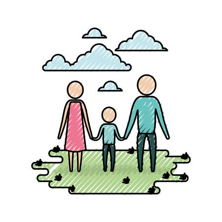 color crayon silhouette sky landscape and grass with pictogram couple holding hands of boy vector illustration
