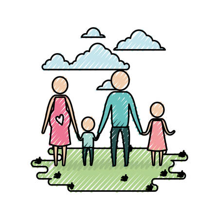 color crayon silhouette sky landscape and grass with pictogram woman pregnancy and man holding hands of children vector illustration Illustration
