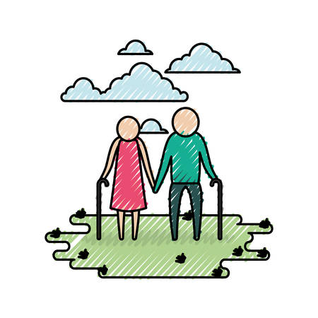 color crayon silhouette sky landscape and grass with pictogram elderly couple in grass vector illustration