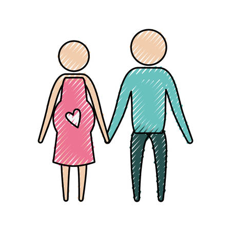 affection: color crayon silhouette of pictogram woman pregnancy and man holding hands in clothes vector illustration