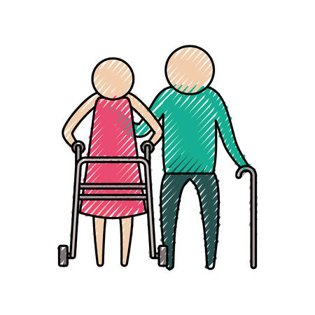 color crayon silhouette of pictogram elderly couple with walking sticks vector illustration
