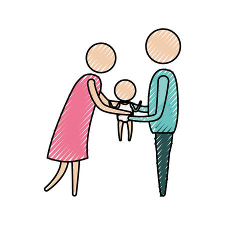 color crayon silhouette of pictogram woman and man holding a baby in her hands with clothes vector illustration Illustration