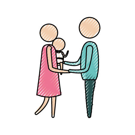 color crayon silhouette of pictogram woman carrying a baby and holding hands of man in clothes vector illustration
