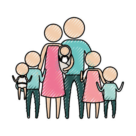color crayon silhouette of pictogram big family group with several children vector illustration