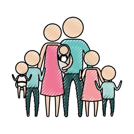 silueta de lápices de colores de pictograma gran grupo familiar con varios niños ilustración vectorial