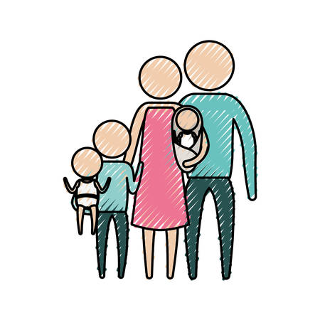 affection: color crayon silhouette of pictogram big family group in clothes vector illustration