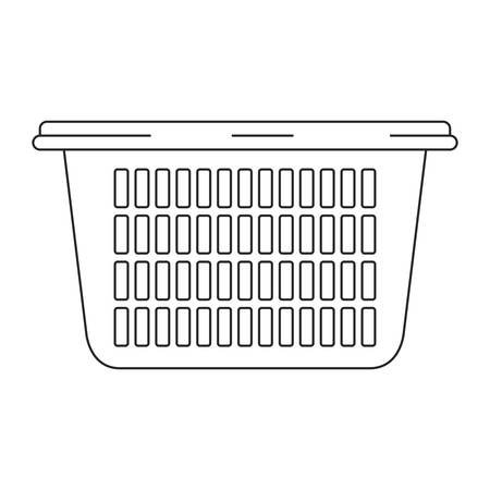 monochrome silhouette of laundry basket without handles vector illustration
