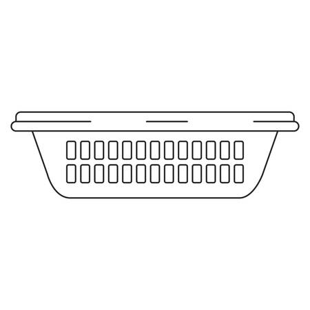 monochrome silhouette of small laundry basket without handles vector illustration Ilustrace