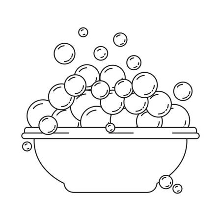 monochrome silhouette with bowl and soap bubbles vector illustration