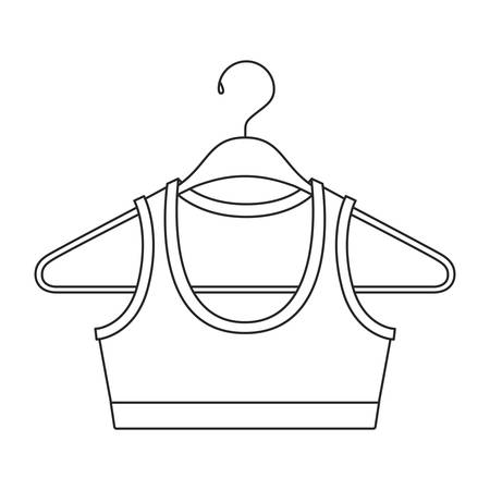 monochrome silhouette shirt top for women in clothes hanger vector illustration