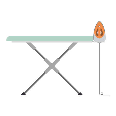 colorful silhouette of ironing board and iron vector illustration Illustration