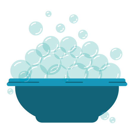 colorful silhouette with bowl and soap bubbles vector illustration