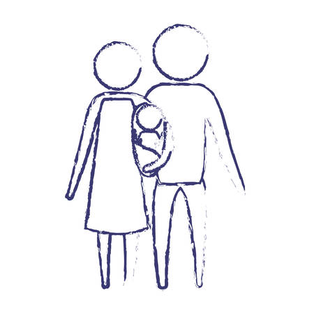 blurred blue silhouette of pictogram parents with a baby girl wrapped in a blanket vector illustration