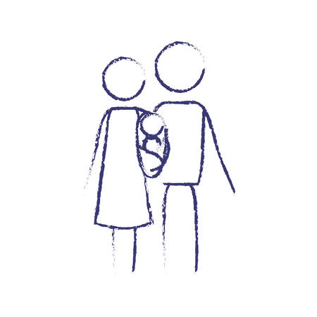 wazig blauwe contour van pictogram ouders met een baby meisje gewikkeld in een deken vectorillustratie