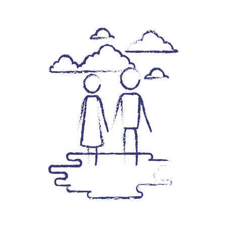 blurred blue contour of sky landscape and grass with pictogram couple holding hands vector illustration Illustration