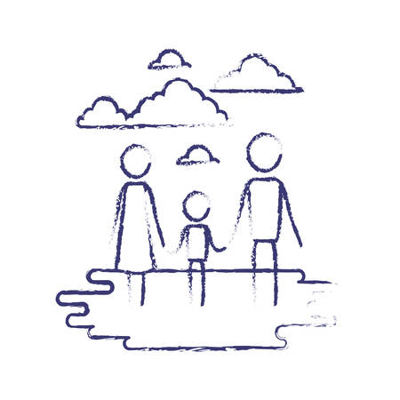 blurred blue contour of sky landscape and grass with pictogram couple holding hands of boy vector illustration Illustration