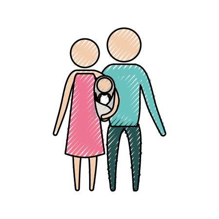 kleur krijt silhouet pictogram ouders met een baby meisje gewikkeld in een deken vector illustratie