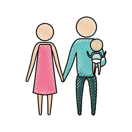 kleur krijt silhouet pictogram ouders met een kleine jongen die in kleding vectorillustratie
