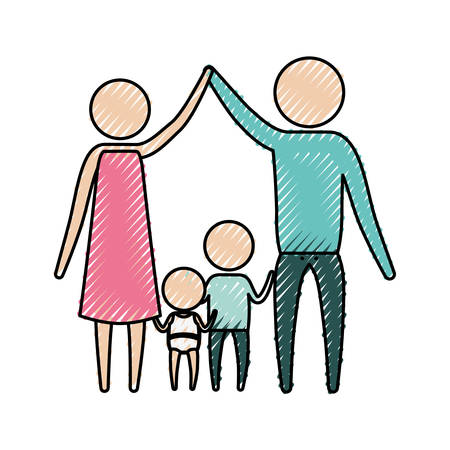 Color crayón silueta pictograma padres tomados de la mano y bebé niña y niño en el medio de ellos ilustración vectorial Foto de archivo - 84478654