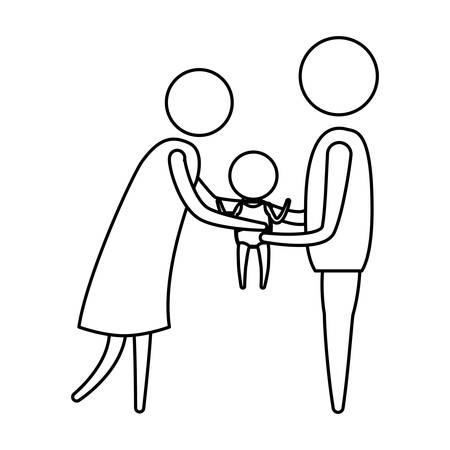 sketch silhouette of pictogram woman and man holding a baby in her hands with clothes vector illustration