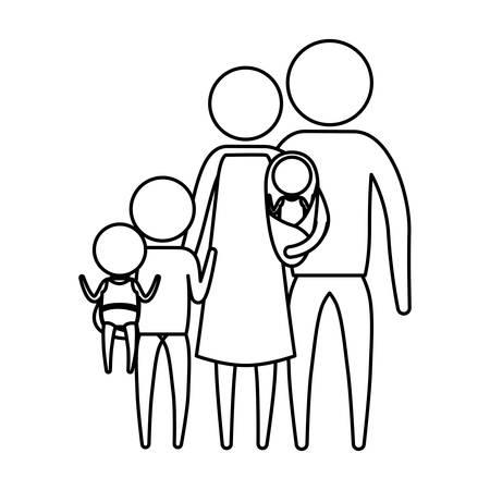 silueta de esbozo de grupo grande de familia de grupo en ropa ilustración vectorial
