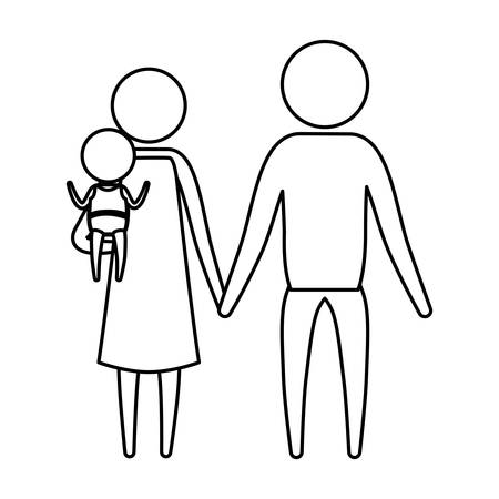 sketch silhouette of pictogram parents with a little girl carrying vector illustration Illustration