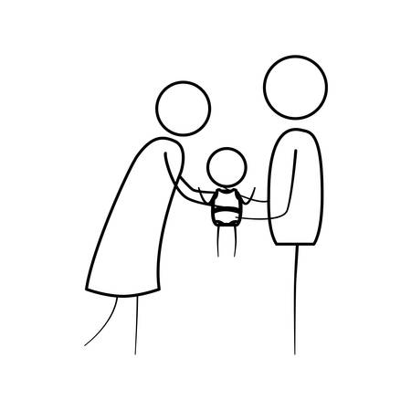 sketch thin contour of pictogram woman and man holding a baby in her hands with clothes vector illustration