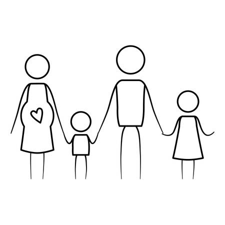 sketch thin contour of pictogram parents with mother pregnancy and children holding hands vector illustration
