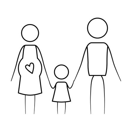 sketch thin contour of pictogram parents with mother pregnancy and little girl holding hands vector illustration