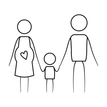 Schizzi il contorno sottile dei genitori del pittogramma con la gravidanza della madre e il ragazzino che si tiene per mano l'illustrazione di vettore Archivio Fotografico - 84523968