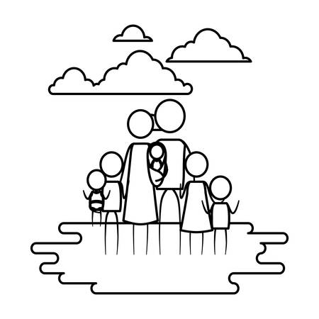 sketch contour of sky landscape and grass with pictogram big family vector illustration