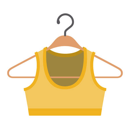 colorful silhouette of shirt top for women in clothes hanger vector illustration Illustration