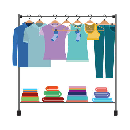 Colorful silhouette of clothes rack with t-shirts and pants on hangers and fold clothes on bottom vector illustration. Ilustração