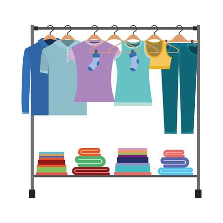 Het kleurrijke silhouet van kleren rekt met t-shirts en broek op hangers en vouwenkleren op bodem vectorillustratie.