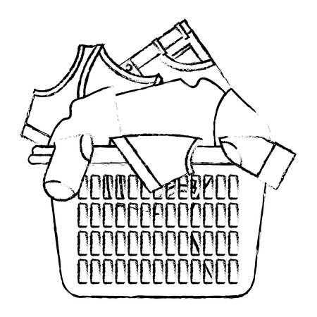 Zwart-wit vaag silhouet van wasmand met hoop van kleren vectorillustratie.