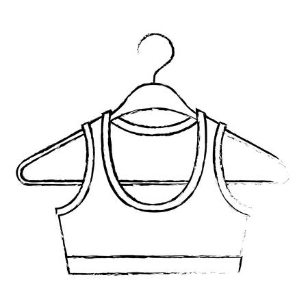 Monochrome blurred silhouette shirt top for women in clothes hanger vector illustration.