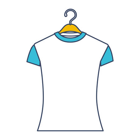 Color blue and yellow sections silhouette of woman t-shirt in hanger vector illustration
