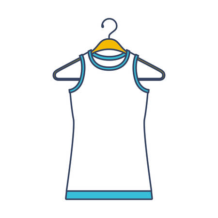 Color blue and yellow sections silhouette of female t-shirt without sleeves in clothes hanger vector illustration. 일러스트