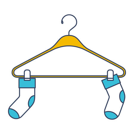 long socks: Color blue and yellow sections silhouette of pair of socks in clothes hanger vector illustration. Illustration