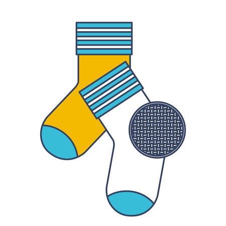 long socks: Color blue and yellow sections silhouette of pair of socks and circle of macro textile pattern vector illustration.