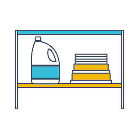 color blue and yellow sections silhouette of rack with bleach clothes bottle and folded towels vector illustration Illustration